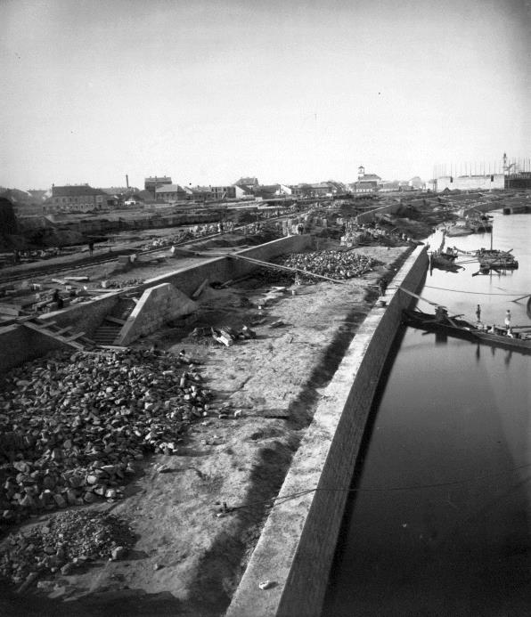 A Tisza-part árvíz utáni újjáépítése 1900 körül