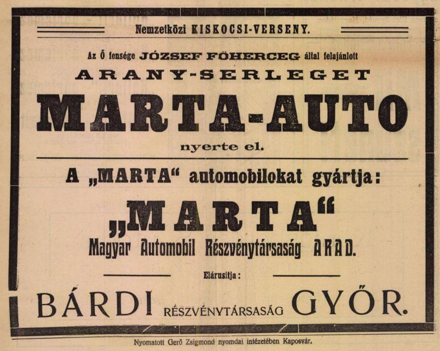 A MARTA autók győzelmét ünneplő hirdetés a Somogyi Hírlap 1912. június 16-i számában